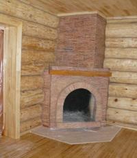 Камин. Отделка деревянного дома в Тюмени.